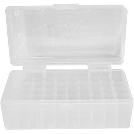 Hinged Top 50 Round Ammo Box 38/357 Clear