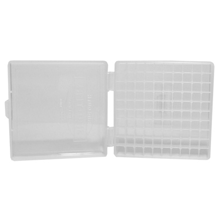 Hinged Top 100 Round Ammo Box 10mm/45 ACP Clear