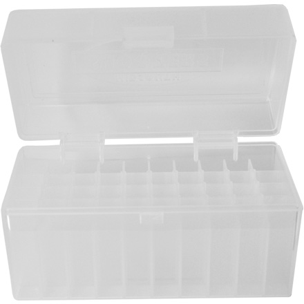 Hinged Top 50 Round Clear Ammo Box for 243/308 (6.5 Creedmoor)