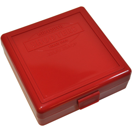 Hinged Top 100 Round Ammo Box 22 LR   Red