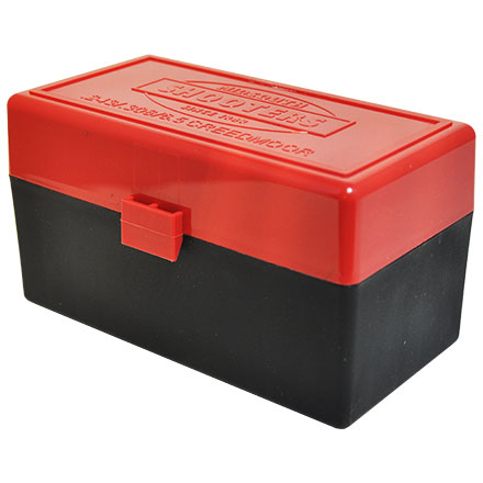 Hinged Top 50 Round Red with Black Base Ammo Box 243/308 (6.5 Creedmoor)