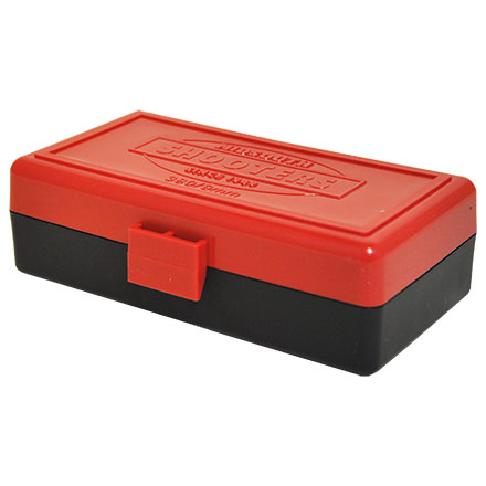 Hinged Top 50 Round Ammo Box 380/9mm Red with Black Base