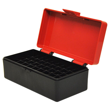 Hinged Top 50 Round Ammo Box 38/357 Red with Black Base