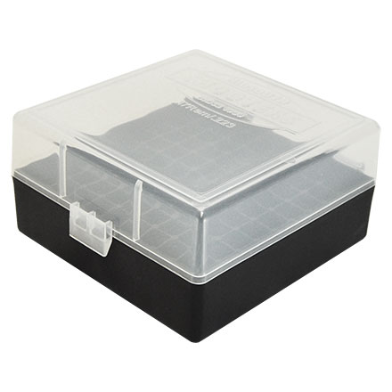 Hinged Top 100 Round Ammo Box 222/223 Clear with Black Base