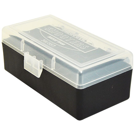 Hinged Top 50 Round Ammo Box 38/357 Clear with Black Base