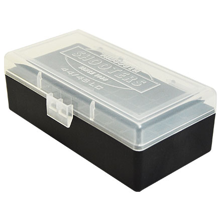 Ammo Box Flip Top Clear with Black Base 44 Mag 44 SPL 41 Mag 45 LC 50 Rounds