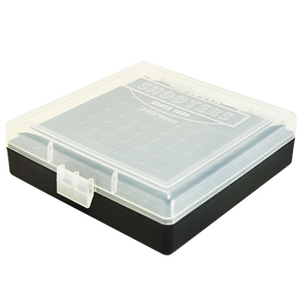 Hinged Top 100 Round Ammo Box 380/9mm Clear with Black Base