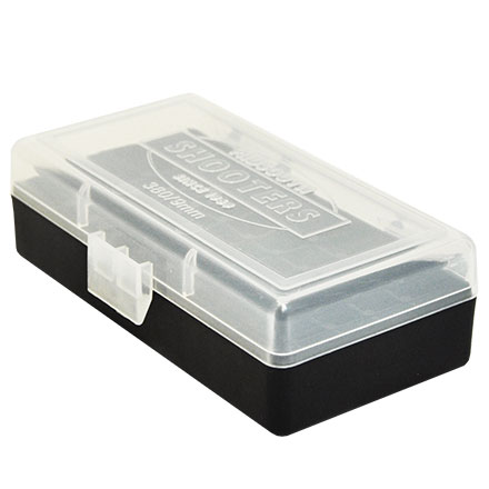 Hinged Top 50 Round Ammo Box 380/9mm Clear with Black Base
