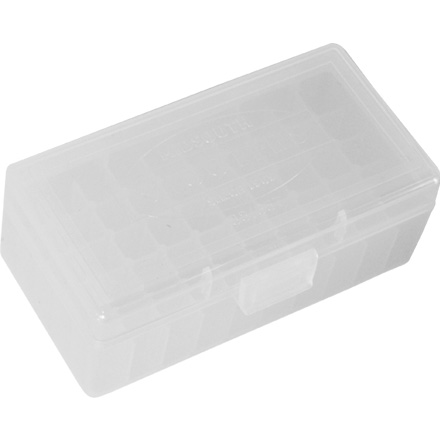 Image for Hinged Top 50 Round Ammo Box 38/357 Clear