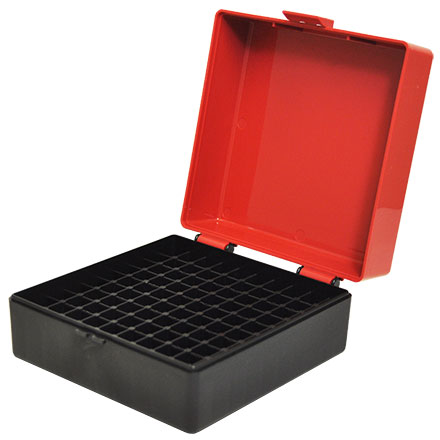Hinged Top 100 Round Ammo Box 222/223 Red with Black Base