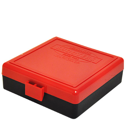 Hinged Top 100 Round Ammo Box 22 LR  Red with Black Base