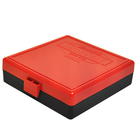 Hinged Top 100 Round Ammo Box 380/9mm Red with Black Base