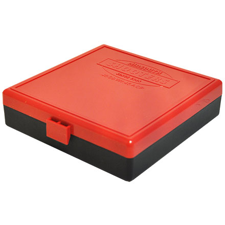 Hinged Top 100 Round Ammo Box 10mm/45 ACP Red with Black Base