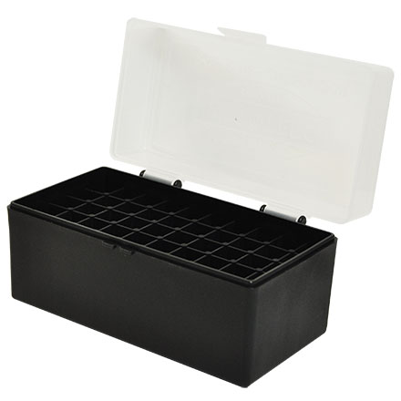 Hinged Top 50 Round Clear with Black Base Ammo Box for 243/308 (6.5 Creedmoor)