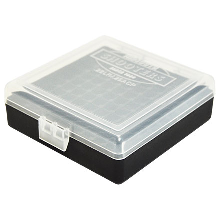 Hinged Top 100 Round Ammo Box 22 LR  Clear with Black Base