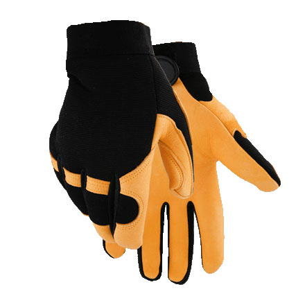 Deerskin Gloves With Black Neoprene Knuckle and Stretch Knit Back (Large)
