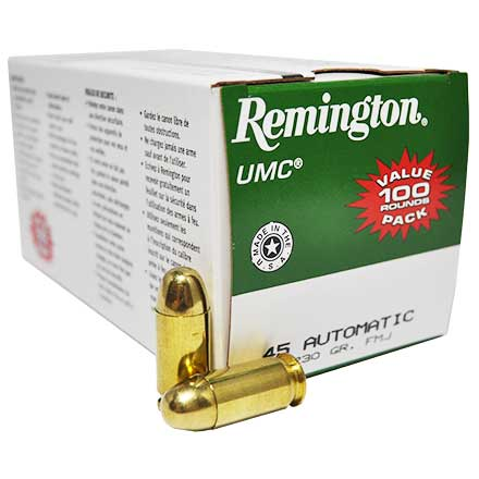 45 Automatic 230 Grain FMJ 100 Rounds