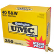Remington .40 S&W Ammo 165 Grain Jacketed Flat Nose 250 Count