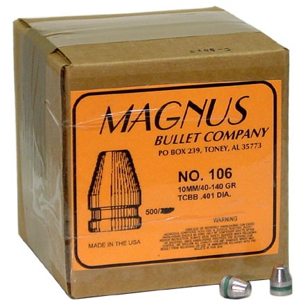 40 Caliber .401 Diameter 140 Grain Trunacated Cone Bevel Base 500 Count