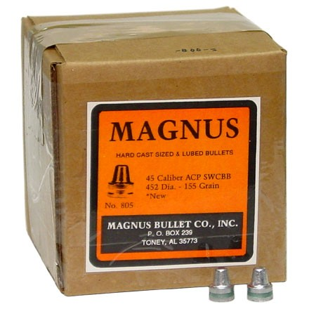45 ACP  452 Diameter 155 Grain Semi Wad Cutter 500 Count