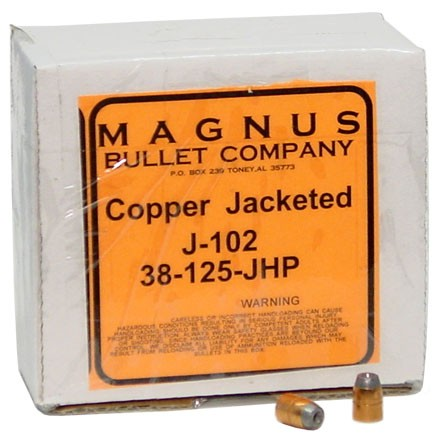 38/357 Caliber .357 Diameter 125 Grain Jacketed Hollow Point 250 Count