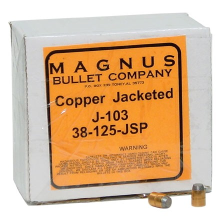 38/357 Caliber .357 Diameter 125 Grain Jacketed Soft Point 250 Count