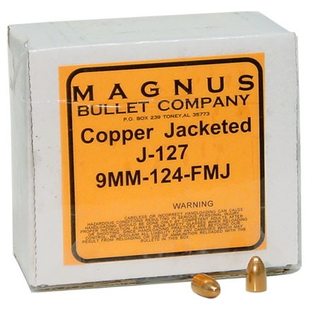 9mm .355 Diameter 124 Grain Full Metal Jacket 250 Count
