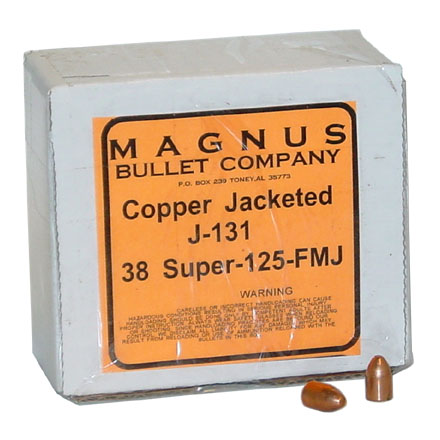 38 Super .356 Diameter 125 Grain Full Metal Jacket 250 Count