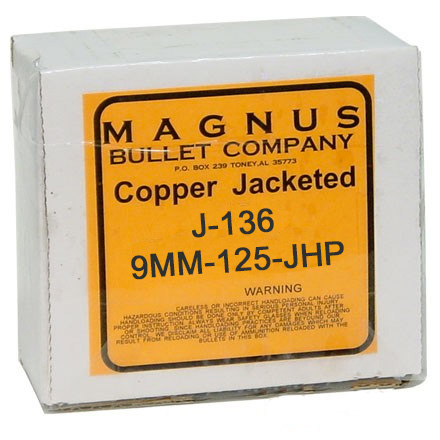 9mm .355 Diameter 125 Grain Jacketed Hollow Point  250 Count