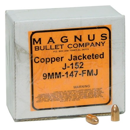 9mm .355 Diameter 147 Grain Full Metal Jacket 250 Count
