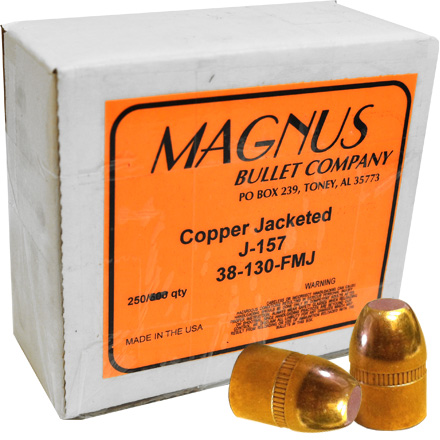 38 Caliber .356 Diameter 130 Grain Full Metal Jacket 250 Count