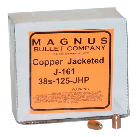 38 Super .356 Diameter 125 Grain Jacketed Hollow Point 250 Count