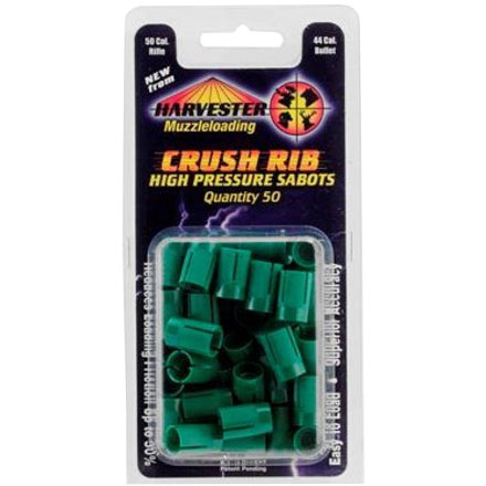 50 Caliber Crush Rib Green Sabots Holds 44 Caliber Bullets 50 Pack