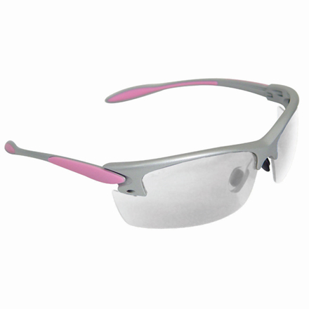Women Shooting Glasses Clear Lens Silver and Pink Frame