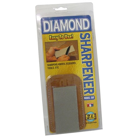"Image for 2""x4"" Fine (600 Grit) Flat Diamond Stone With Groove & Leather Pouch"