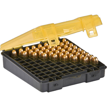 100 Round Handgun Ammo Case 9mm/.380 Auto with Hinged Cover Gray and Amber