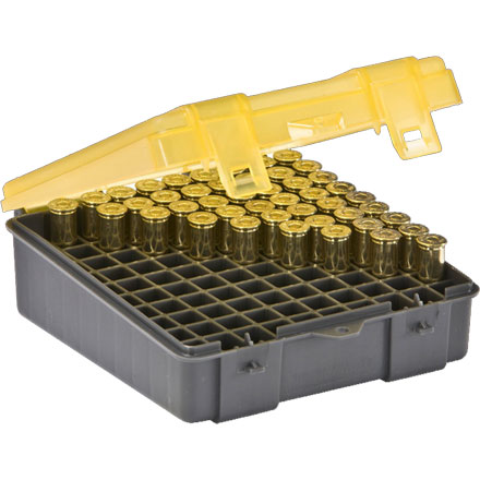 100 Round Handgun Ammo Case .357 Mag/ .38 Special/ .38 S&W with Hinged Cover Gray and Amber