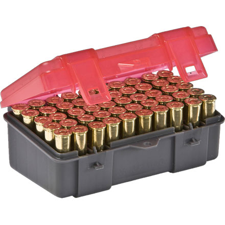 50 Round Handgun Ammo Case .357 Mag/.38 Special/.38 S&W with Hinged Cover Gray and Rose