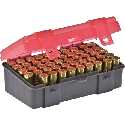 50 Round Handgun Ammo Case 41 Mag, 44 Mag, 45 Long Colt  with Hinged Cover Gray and Rose