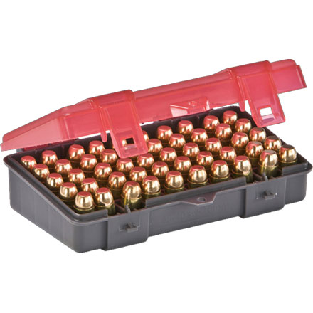 50 Round Handgun Ammo Case 45 ACP, 40 S&W, 10mm with Hinged Cover Gray and Rose