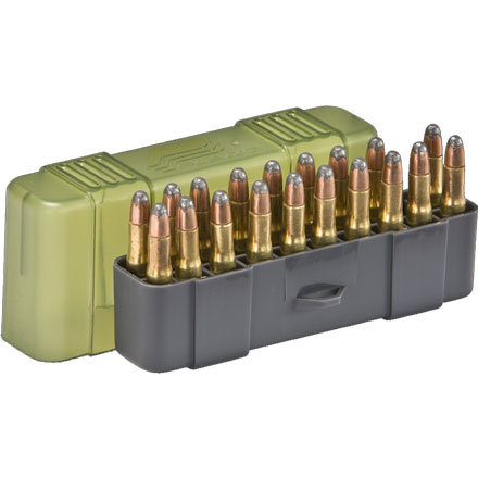 20 Round Small Rifle Ammo Case .22-.250 /30-30 Win/.32 Win with Slip Cover Gray and O.D.G