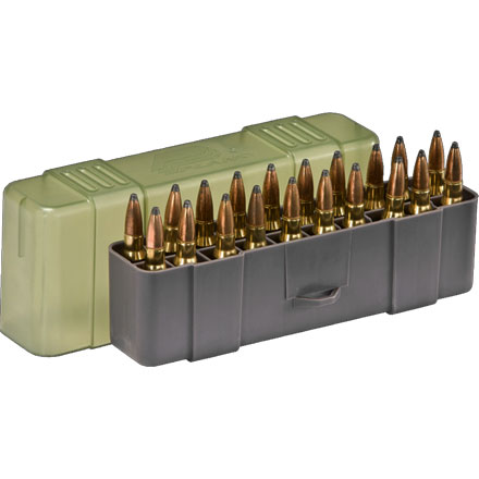 20 Round Medium Rifle Ammo Case .243 Win/.308 Win/45-70 Govt with Slip Cover Gray and O.D.G