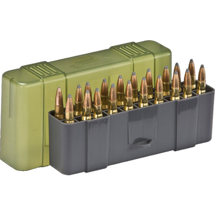 20 Round Large Rifle Ammo Case  30-06/7mm Mag/.338 Win. Mag. with Slip Cover Gray and O.D.G