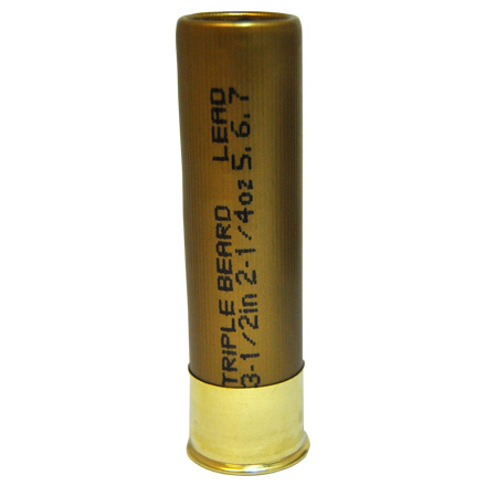 12 Gauge Triple Beard 3-1/2 inch 2-1/4 oz. #5,6,7 Shot 1,300 fps 10 Rounds
