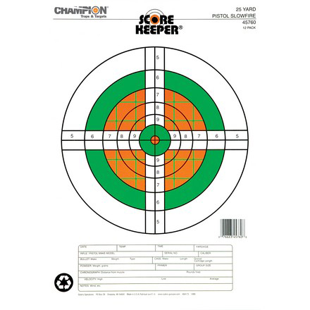 Champion Scorekeeper 25 Yard Pistol Slow Fire Target 12 Pack