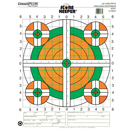 Champion Scorekeeper 100 Yard Rifle Sight-In Target 12 Pack
