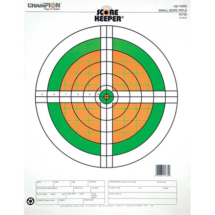 Champion Scorekeeper 100 Yard Small Bore Rifle Target 12 Pack