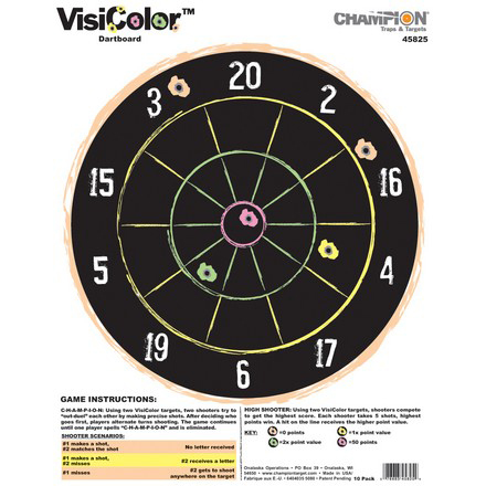 "11x14"" VisiColor Dartboard High-Visibility Paper Target 10 Pack"