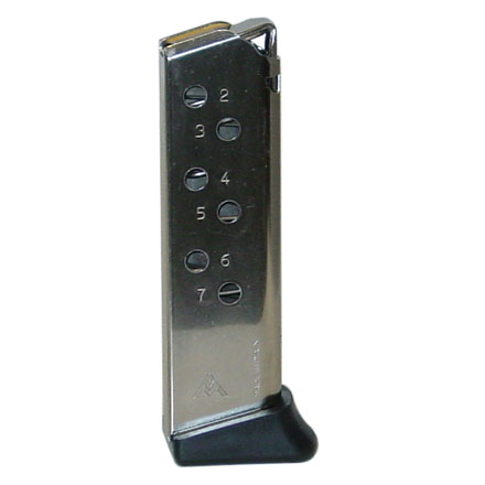 Walther PPK S 380 ACP Standard Plastic Finger Butt Plate Nickel Finish 7 Round Magazine