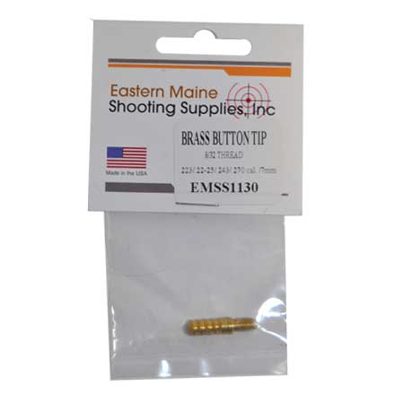 "22-270 Caliber and 7mm Brass Button Tip 8/32"" Thread"